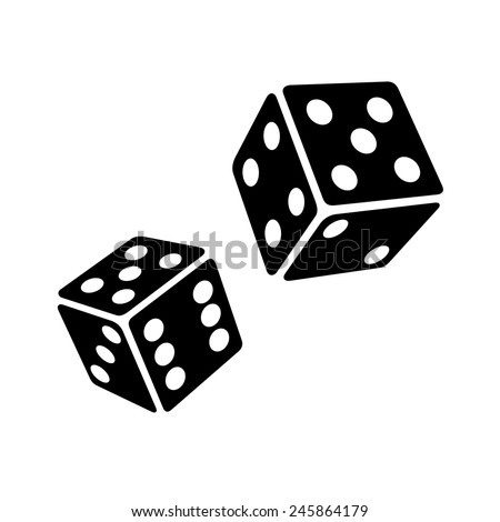 Two Black Dice Cubes on White Background. Vector Illustrations - stock vector