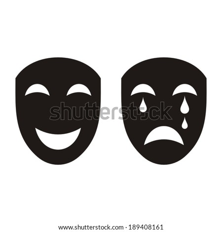 Two black happy and sad theatrical masks isolated - stock vector