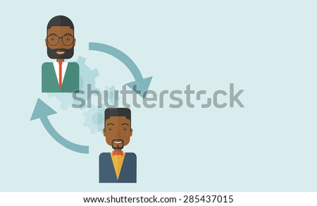 Two black men in exchanging ideas. Partnership concept. A contemporary style with pastel palette soft blue tinted background. Vector flat design illustration. Horizontal layout with text space - stock vector