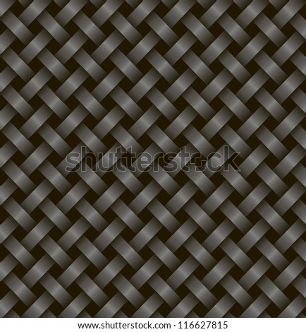 two black ribbons woven together on a black background.Vector - stock vector
