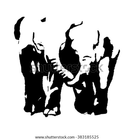 Two black silhouette in the form of elephants. Vector illustration on white background, abstract - stock vector