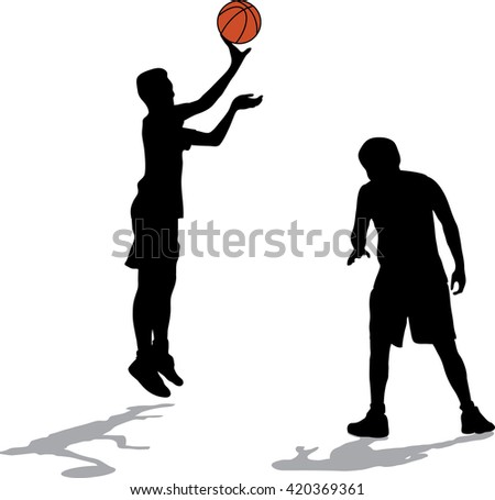 Two black silhouettes of men playing basketball with color ball on white background - stock vector