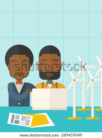 Two black workers using laptop with windmills as power generator. A Contemporary style with pastel palette, soft blue tinted background. Vector flat design illustration. Vertical layout with text - stock vector