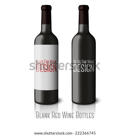 Two blank black realistic bottles for red wine isolated on white background with reflection and place for your design and branding. Vector - stock vector