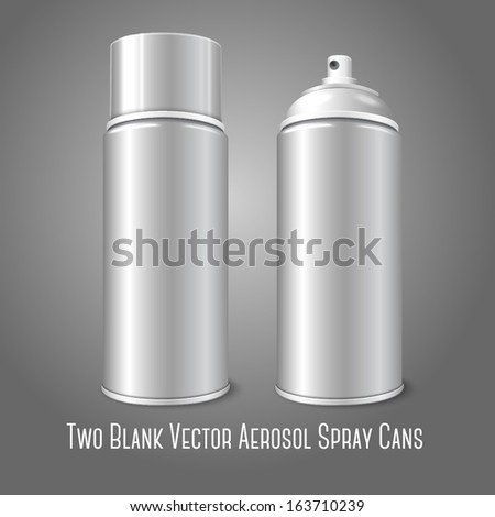 Two blank vector aerosol spray metal 3D bottle cans - opened and with cap. For paint, graffiti, deodorant, foam, cosmetics etc.  - stock vector