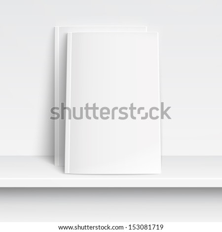 Two blank white magazines on white shelf with soft shadows and highlights. Vector illustration. EPS10. - stock vector