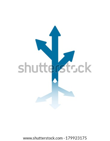 Two Blue Arrows Splitting From Central Arrow With Reflections on Bottom Plane - stock vector