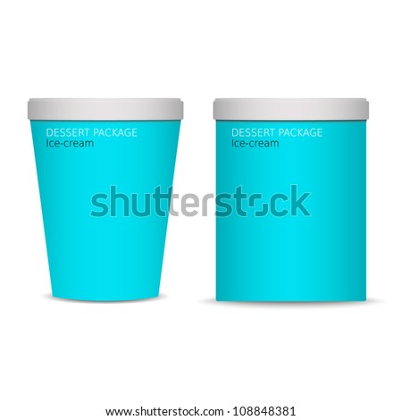 Two blue food plastic containers , dessert, yogurt, ice-cream - stock vector