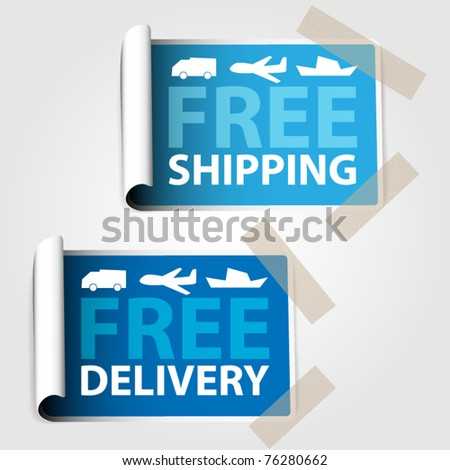 Two blue labels - free shipping , free delivery