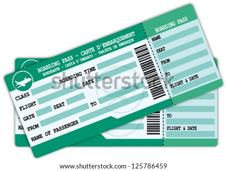 Two boarding passes. Green and blue flight coupons vector illustration. - stock vector