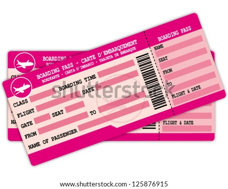 Two boarding passes. Pink flight coupons vector illustration. - stock vector