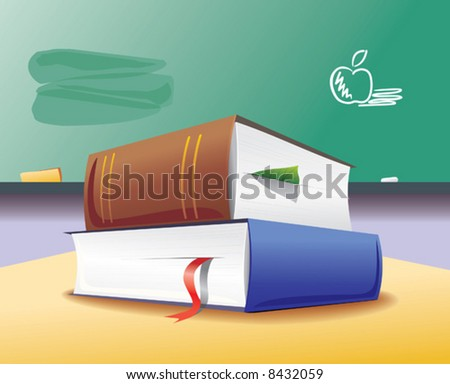 two book & blackboard - stock vector
