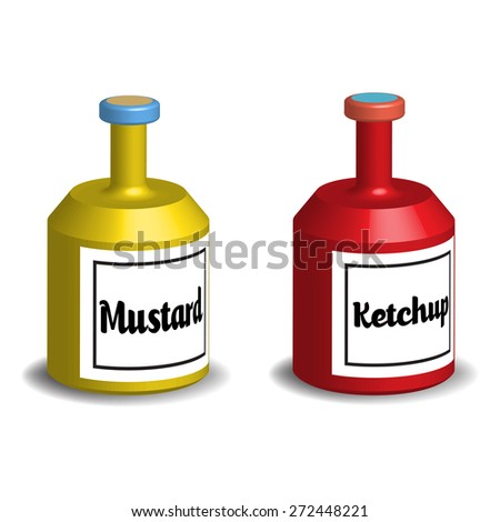 Two bottles of mustard and ketchup isolated on a white background - stock vector