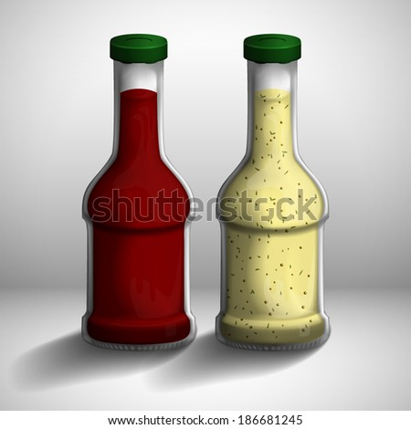 Two bottles of red and white sauce.
