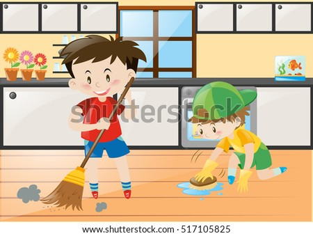 Two Boys Cleaning The Kitchen At Home Illustration