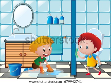 Two Boys Cleaning Toilet Illustration