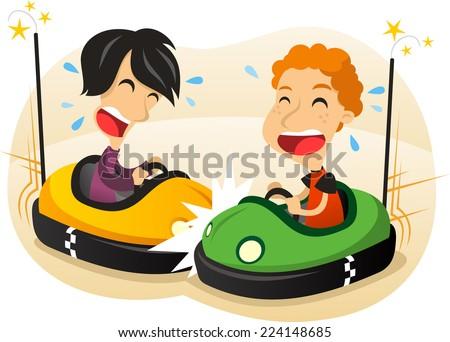 two boys driving Bumper car fun cartoon illustration - stock vector