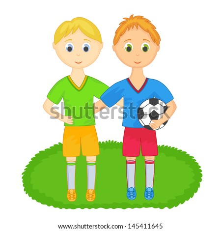 Two boys from soccer team - stock vector