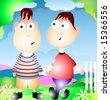 two  boys in backyard - stock vector
