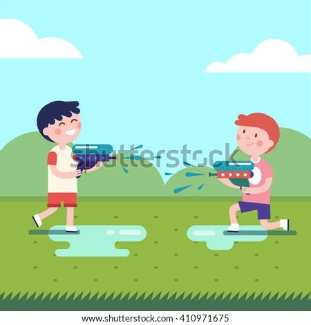 Two boys playing water guns wars. Wet kids shooting squirt guns. Modern flat vector illustration clipart. - stock vector