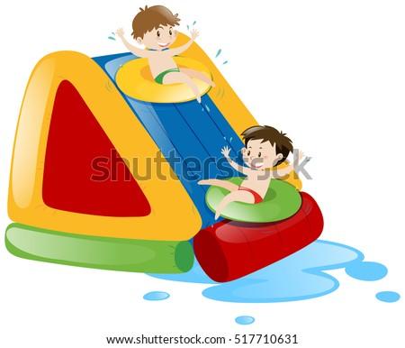 Cartoon Baby Boy Lie Bed Cute Stock Vector 90854654