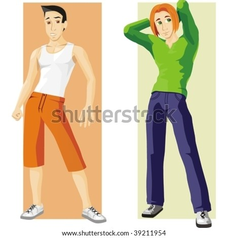 Two Boys Vector Illustration Set - stock vector