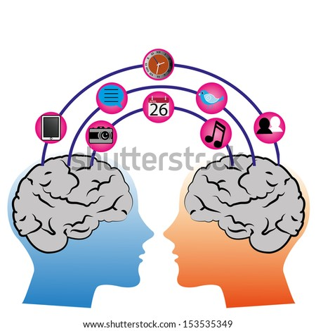 two brain connection on white background with different social media icons