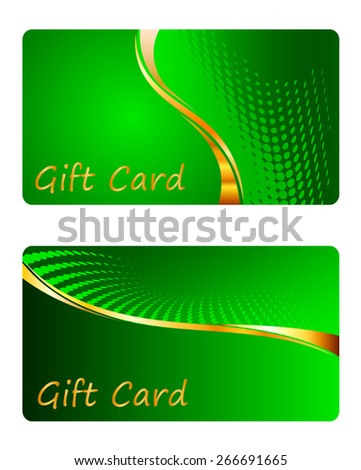 Two bright green gift card. Vector illustration - stock vector