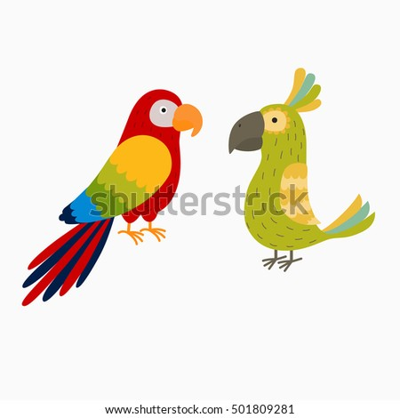 two bright parrot. illustration for the children