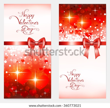 two bright vertical valentine with hearts, red bow, lettering and place for your text , vector illustration