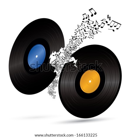 two broken vinyls with music notes