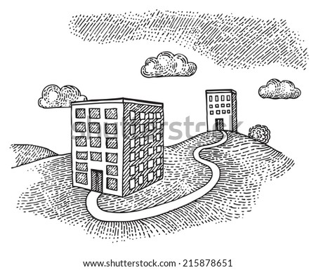 Two buildings on the hill - stock vector