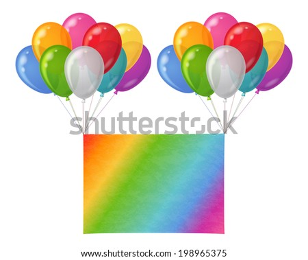 Two bunches of colorful balloons of various colors flying with sheet of rainbow paper for holiday design. Eps10, contains transparencies. Vector - stock vector