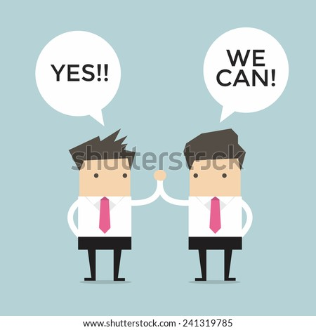 Two business men giving each other a high five - stock vector