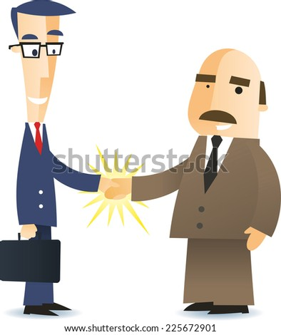 Two business men shaking hands closing a deal cartoon illustration - stock vector