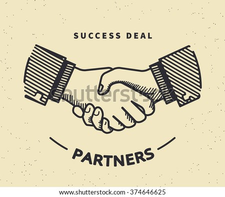 Two business partners agreed a deal and doing handshaking. Vintage illustration on beige background - stock vector
