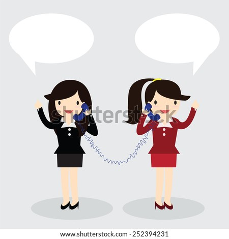 Two business woman used telephone with speech bubbles to each other. - stock vector