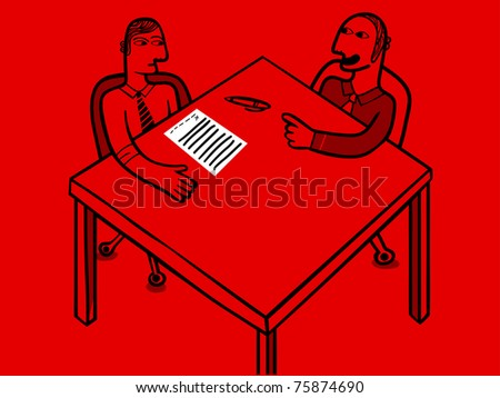 two businessman and a contract - stock vector