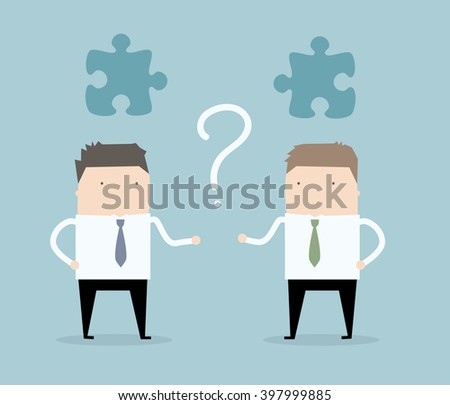 Two businessman are looking for connection. Missing piece. Business concept illustration.