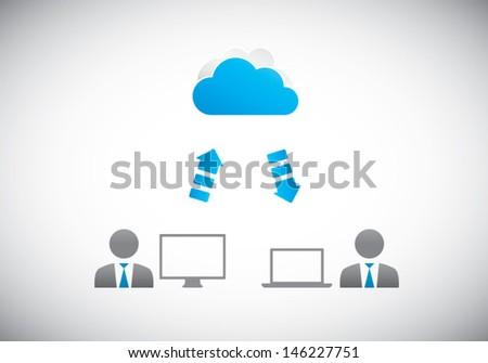 Two businessman cloud computing vector illustration - stock vector