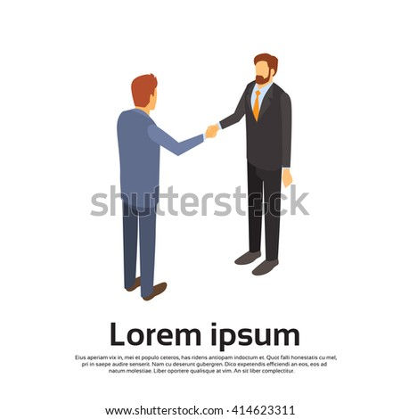 Two Businessman Hand Shake, Business Man Handshake Agreement Concept 3d Isometric Vector Illustration - stock vector
