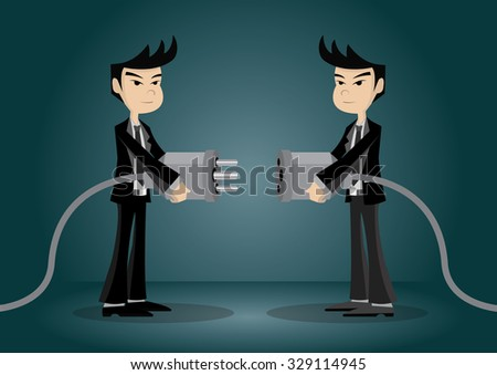 Two businessman holding huge wired electrical plug and socket ready to establish connection. Creative conceptual vector illustration for business connection metaphor, eps10 vector format - stock vector
