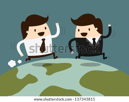 two businessman running together on globe - stock vector