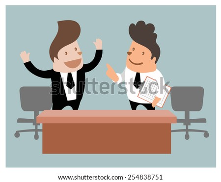 Two businessman talking,