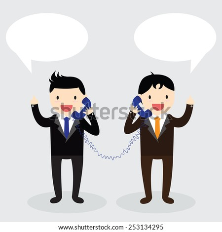 Two businessman used telephone with speech bubbles to each other. - stock vector