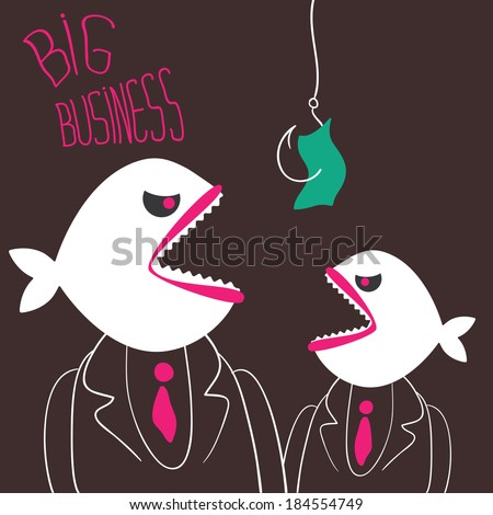 Two businessman with a predatory fish instead of heads ready to pounce on the money on a fishing hook. Business metaphor. Hand-drawn vector. - stock vector