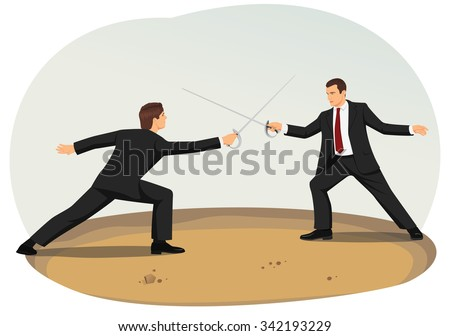 Two businessmen are fencing. Market competition and commercial disputes. - stock vector