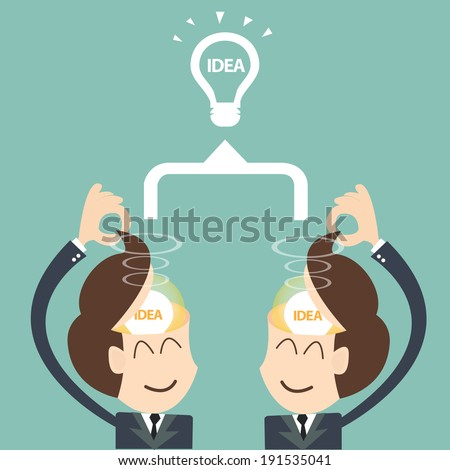 two businessmen brainstorming bulb - Brainstorm Teamwork concept - stock vector