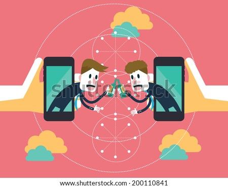 Two businessmen clink glasses to celebrate a success on mobile cloud. business partnership and technology concept. illustration vector - stock vector