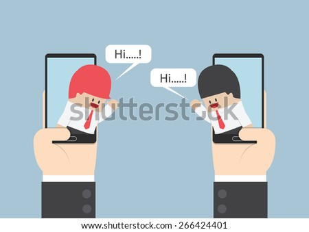 Two businessmen communicate on smartphone with speech bubble, VECTOR, EPS10 - stock vector